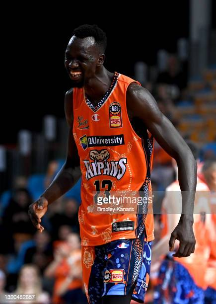 Majok Deng of the Taipans celebrates during the round 20 NBL match between South East Melbourne Phoenix and Cairns Taipans at Cairns Pop Up Arena, on...