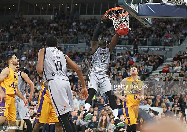 Majok Majok of Melbourne United dunks the ball during the round eight NBL match between Melbourne United and the Sydney Kings at Hisense Arena on...