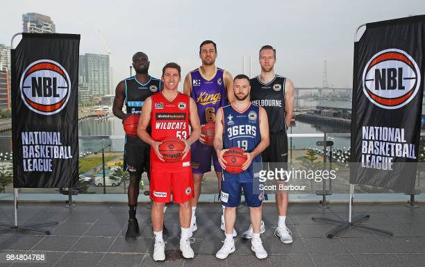 Majok Majok of the New Zealand Breakers; Damian Martin of the Perth Wildcats; Andrew Bogut of the Sydney Kings; David Barlow of Melbourne United and...