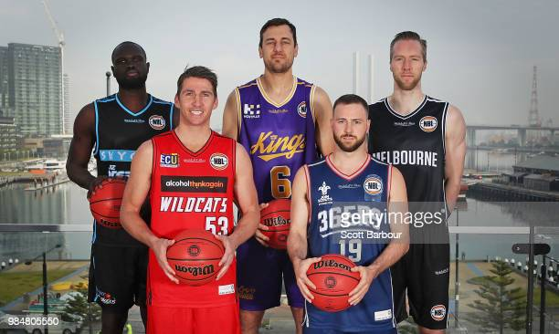 Majok Majok of the New Zealand Breakers Damian Martin of the Perth Wildcats Andrew Bogut of the Sydney Kings David Barlow of Melbourne United and...