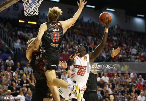 Majok Majok of the Wildcats in action during the round four NBL match between the Illawarra Hawks and the Perth Wildcats at Wollongong Entertainment...