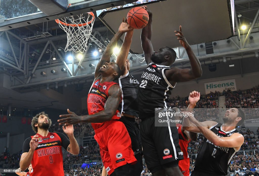 Majok Majok of United blocks a shot by Casey Prather of the Wildcatsduring the round 19 NBL match between Melbourne United and the Perth Wildcats at Hisense Arena on February 12, 2017 in Melbourne, Australia.