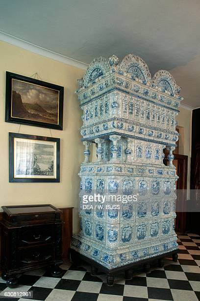 Majolica stove in a room of the Summer Palace Saint Petersburg Russia