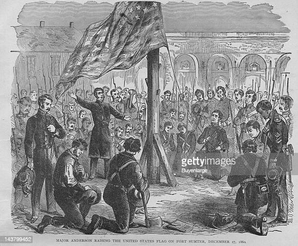 Major Anderson Raises the Flag on Fort Sumter Fort Sumter South Carolina December 17 1860 From an issue of Frank Leslie's Illustrated Almanac