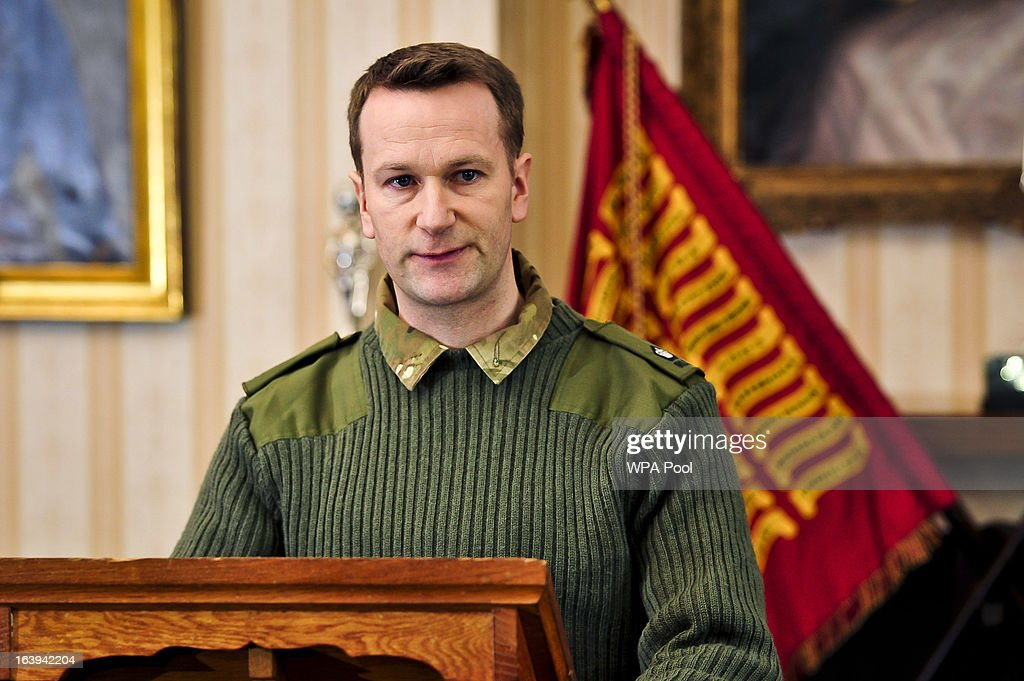 Major Andy Parker speaks at a press conference at Buller Barracks, which the family of Lance Corporal James Ashworth attended on March 18, 2013 in Aldershot, England. Lance Corporal James Ashworth has been awarded the Victoria Cross in recognition of his 'extraordinary courage' while serving with the 1st Battalion The Grenadier Guards in Helmand province where he died last June.