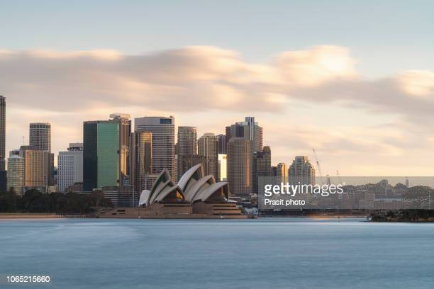 major architecture landmarks of the city of sydney and australia around sydney harbor in elevated aerial view in warm smooth sunlight at the morning. - シドニー・オペラハウス ストックフォトと画像