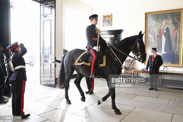 Major Austin Salusbury and his horse 'Falkland' during The Sovereign's Parade at Royal Military Academy Sandhurst on December 13 2019 in Camberley...
