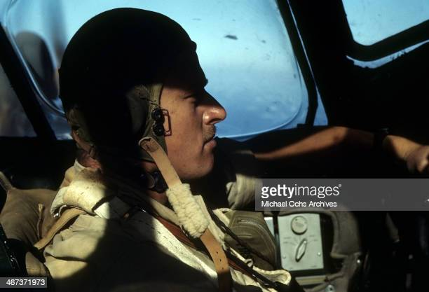 Major Brooks of the 376th Bombardment Group prepares to fly his B24 Liberator at the US Air Force Base in Benghazi Libya