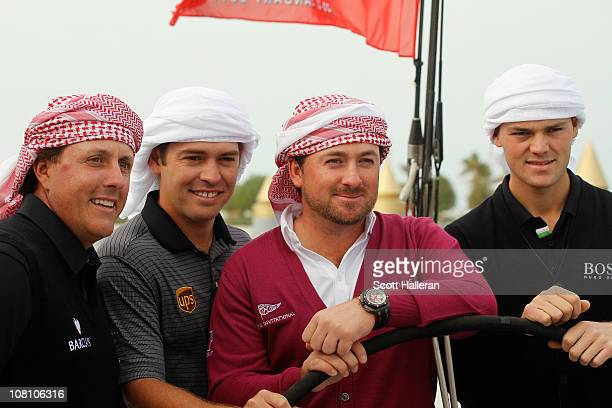 2010 Major Champions Phil Mickelson of the USA Louis Oosthuizen of South Africa Graeme McDowell of Northern Ireland and Martin Kaymer of Germany pose...
