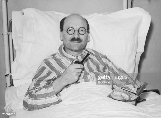 Major Clement Attlee leader of the opposition recuperates at the London Clinic after an operation 19th July 1939