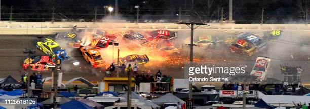 A major crash takes much of the field in the final stage of the Daytona 500 at Daytona International Speedway Sunday February 17 2019