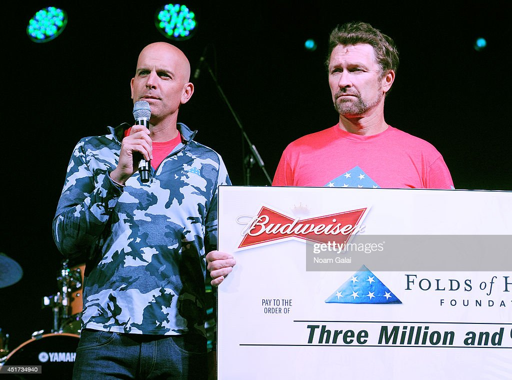Major Dan Rooney, Folds of Honor Foundation and country music star Craig Morgan announce Budweiser's $3 Million donation to Folds of Honor, which provide 600 scholarships to families of military killed or disabled in action on July 4, 2014 in Jersey City, New Jersey.