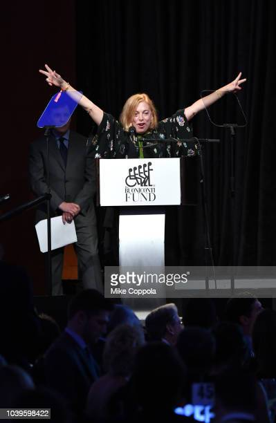 Major donor Alitza Weiss speaks onstage the 33rd Annual Great Sports Legends Dinner which raised millions of dollars for the Buoniconti Fund to Cure...