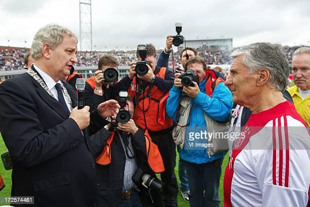 Major Eberhard van der Laan of Amsterdam, Sjaak Swart during the Sjaak Swart 75th anniversary match on July 3, 2013 at Olympisch stadion in...
