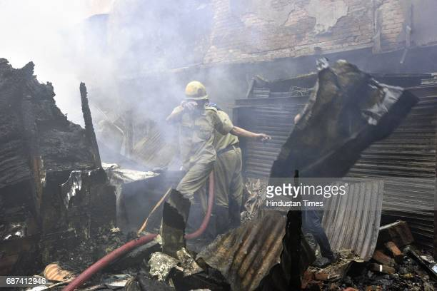 A major fire broke out in a cloth shop in Moti Bazar of Chandni Chowk on May 23 2017 in New Delhi India No injuries or casualties have been reported...