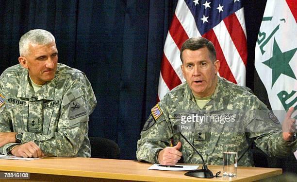 Major Gen Michael Haerlting and US military spokesman Major Gen Kevin Bergner speak during a press conference on January 9 2008 in Baghdad Iraq