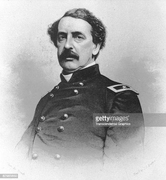 Major General Abner Doubleday poses for a portrait in the Brady Photo Studios in Washington DC in 1862
