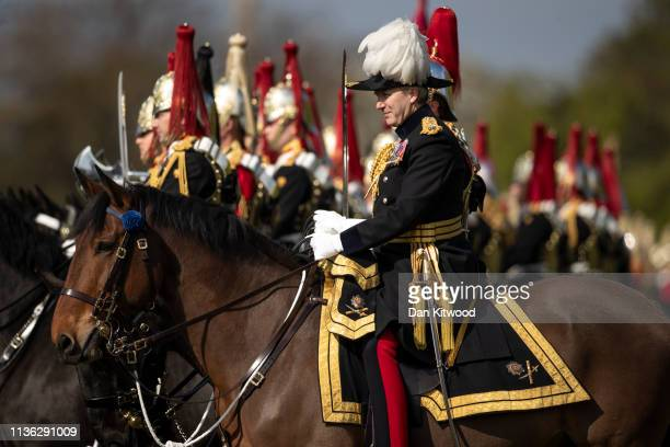 Major General Ben Bathurst inspects members of the Household Cavalry Mounted Regiment during their annual Inspection in Hyde Park on April 11 2019 in...