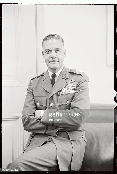 Major General Benjamin O Davis highest ranking Negro in the US Armed Forces shown at his desk at the Pentagon After it was announced that he will be...