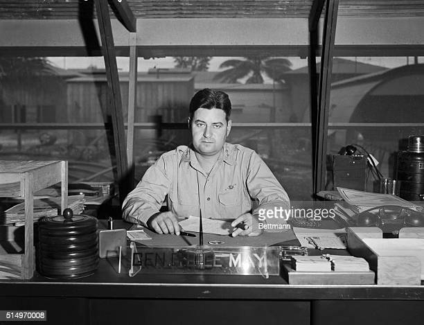 Major General Curtis LeMay in his office in Marianas