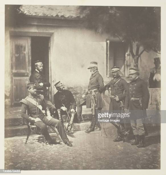 Major General Estcourt and Staff, 1855. A work made of salted paper print, plate 37 from the album 'photographs taken in the crimea' . Artist Roger...