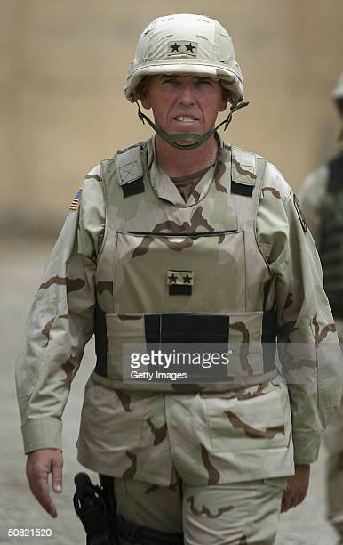 Major General Geoffrey D Miller is seen at Abu Ghraib prison May 10 2004 in Abu Ghraib Iraq Allegations of abuse at the prison notorious under the...