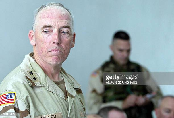 S Major General Geoffrey Miller commander of USrun prisons in Iraq talks to journalists in the prison of Abu Ghraib outside Baghdad Iraq 05 May 2004...