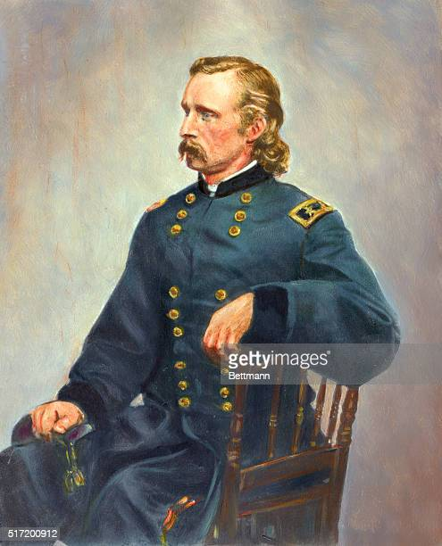 Major General George Armstrong Custer colored from photograph by Mathew Brady C 1870