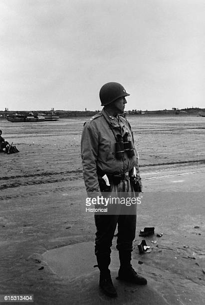 Major General George S Patton stands on a beach in Morocco in November 1942 during the first days of the US campaign in North Africa
