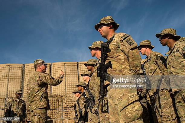 Major General James C McConville gives a pep talk to soldiers from the 10th Mountain Division at Camp Clark in Khost Province in Afghanistan on...
