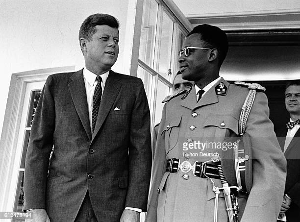 Major General Joseph Mobutu the Commander in Chief of the Congolese armed forces with the American President John F Kennedy during a 1963 visit to...