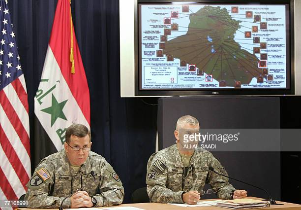 Major General Kevin Bergner MultiNational ForceIraq spokesman and Brigadier General Michael Walch commanding general of the Gulf Region Division US...