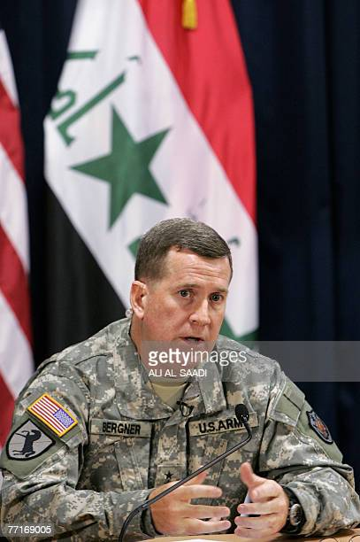 Major General Kevin Bergner MultiNational ForceIraq spokesman speaks during a press conference at the heavily fortified Green Zone in Baghdad 03...