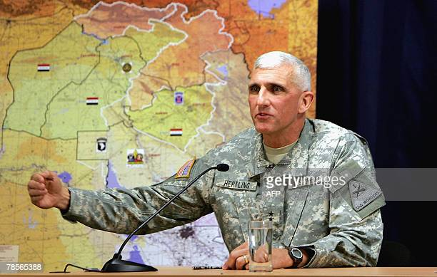 Major General Mark P Hertling commander of the MultiNational Division North speaks during a joint press conference with US Major General Kevin J...