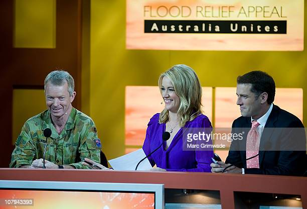 Major General Mick Slater and Channel Nine hosts Leila McKinnon and Karl Stefanovic at the Channel Nine And Daily Telegraph telethon appeal for...
