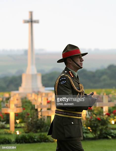 Major General Peter Kelly, Head of the New Zealand Forces takes part in a vigil at Thiepval Memorial to the Missing of the Somme during Somme...