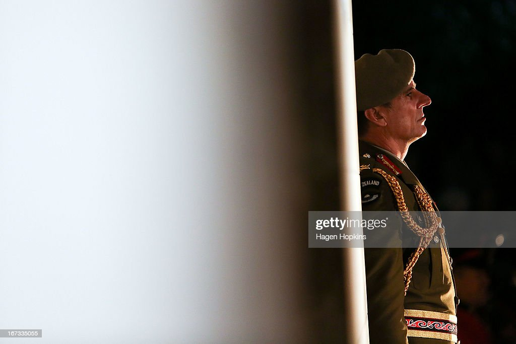 Major General Tim Keating looks on during dawn service at the Wellington cenotaph on April 25, 2013 in Wellington, New Zealand. Veterans, dignitaries and members of the public marked the 98th anniversary of ANZAC (Australia New Zealand Army Corps) Day, April 25, 1915 when allied New Zealand and Australian forces landed on the Gallipoli Peninsula during the First World War.