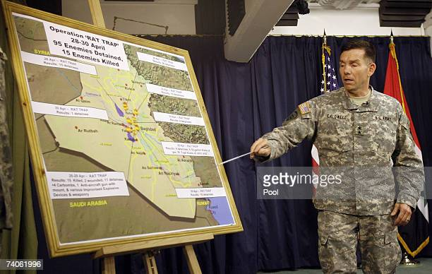 S Major General William Caldwell commander of the MultiNational Force Iraq speaks during a press conference May 3 2007 in Baghdad Iraq The US...
