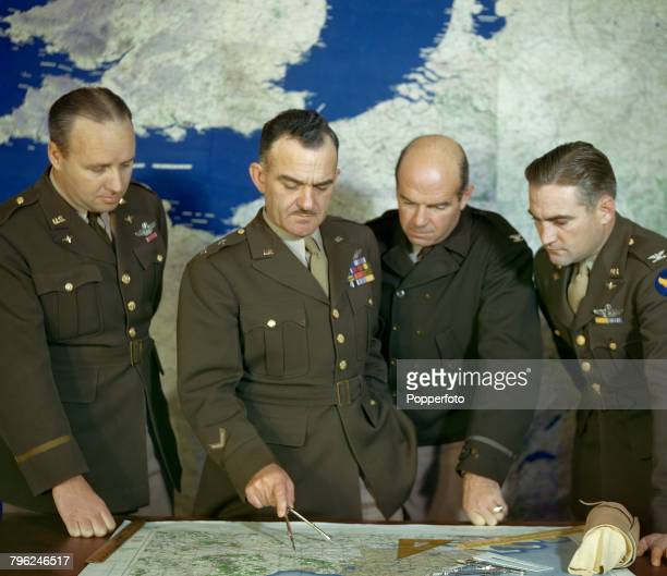 Major General William Ellsworth Kepner new commander of 8th Fighter Command United States Army Air Corps pictured 2nd from left with his staff from...