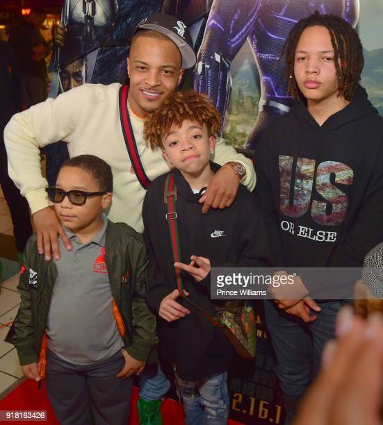 I Major Harris Clifford Harris III and Domani Harris attend 'Black Panther' Advance screeing at Regal Hollywood on February 13 2018 in Chamblee...