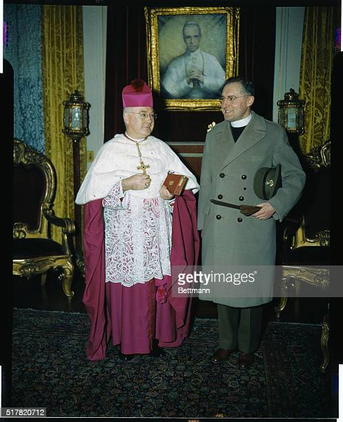 Major J Armand Sabourin Canadian Chaplain who took part in Dieppe Raid last August is shown with Archbishop Francis Spellman