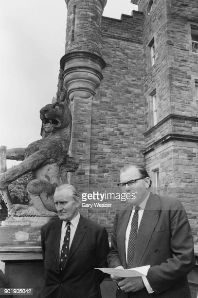 Major James ChichesterClark the Prime Minister of Northern Ireland on the steps of Stormont with British Home Secretary Reginald Maudling after...