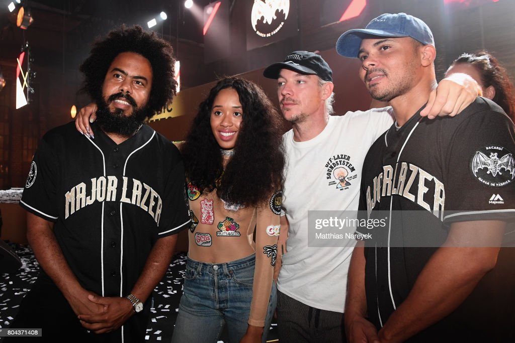 Major Lazer and Kitty Cash attend Bacardi X The Dean Collection Present: No Commission Berlin on June 29, 2017 in Berlin, Germany.
