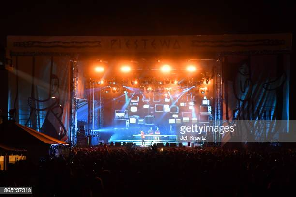 Major Lazer performs at Piestewa Stage during day 3 of the 2017 Lost Lake Festival on October 22 2017 in Phoenix Arizona