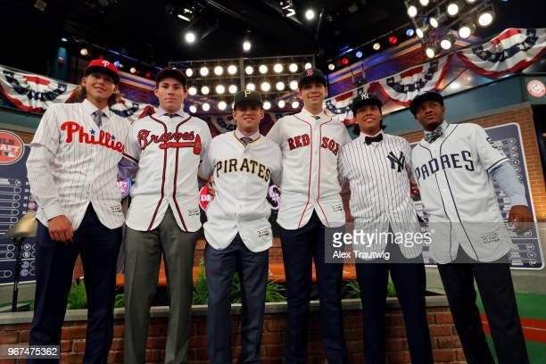 Major League Baeseball first round draft picks Alec Bohm Carter Stewart Travis Swaggerty Triston Casas Anthony Seigler and Xavier Edwards pose for a...