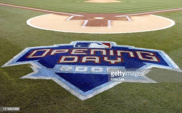 Major League Baseball 2005 Opening Day Logo at Angel Stadium in Anaheim