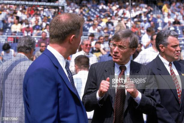 Major League Baseball Acting Commissioner Bud Selig has a conversation prior to the game between Pittsburgh Pirates and Cincinnati Reds at PNC Park...