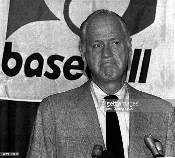 Major League Baseball Commissioner Bowie Kuhn is seen at news conference on August 3 1983 announcing Kuhn was resigning his post as Baseball...