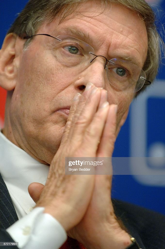 Major League Baseball Commissioner Bud Selig listens to questions during a press conference on steroid use in Major League Baseball March 30, 2006 in New York City.