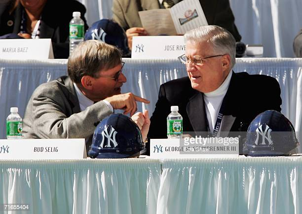 Major League Baseball Commissioner Bud Selig speaks to New York Yankees principal owner George Steinbrenner before breaking ground on a new $800...